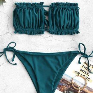 ZAFUL Peacock Blue Strapless Bikini